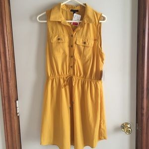 Bebop Sleeveless Button Up Dress in Mustard